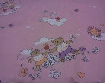 Fabric nice sleeping Bears Sunny day pink fabric Kids Cotton Fabric Scandinavian Design Scandinavian Textile