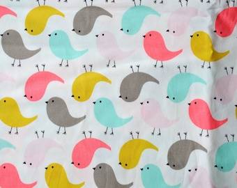 """CHEEP CHEEP"" colorful birds pattern cotton fabric"