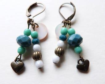 Earrings charm blue and green