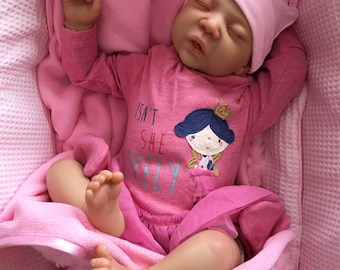 """Reborn baby doll girl big newborn Amy 22"""" size rooted eyelashes bebe real realistic my fake baby childrens cheap doll"""