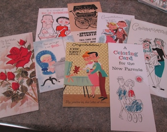 eight vintage used baby cards humorous