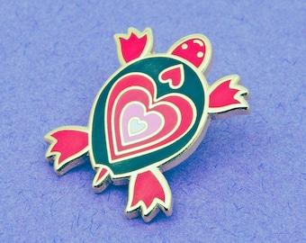 Turtle Enamel Pin Badge | Valentine Heart Pin Badge | Enamel Pin Badge | Hard Enamel Pin Badge | Heart Pin Badge Gift