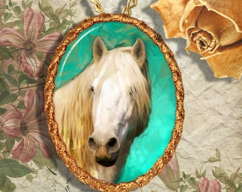 White Horse Camargue Horse Jewelry Pendant Necklace or Brooch Handcrafted Ceramic