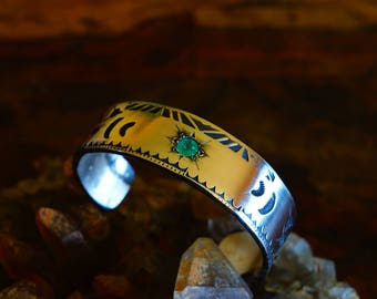 Emerald Moon solid Sterling Silver cuff Bracelet with natural Columbian Emerald