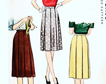 1940s Easy Skirt Pattern McCalls Pleated Skirt Misses Waist 28, Below Knee Skirt Sewing Pattern UNCUT