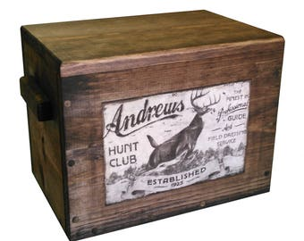 Wooden Ammo Crate - Wood Cartridge Box - Gun Accessories Storage with Vintage Deer Ad