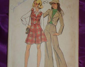 70s Vtg Separates Shaped Front Crop Jacket n Vest Flared Mini Skirt n Wide Straight Leg Pants UNCUT Simplicity 6511 B 33.5 35 US 85 90 Cm