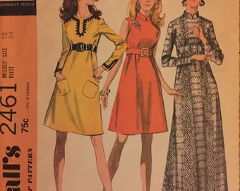 "VTG 2461 McCalls (1970). Step-By-Step Pattern. Misses' dress in 3 versions.  Size 12, Bust 34"".  Complete, unused, FF. Excellent condition."