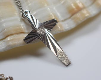 Etched Silver Cross Pendant on Silver Chain Necklace