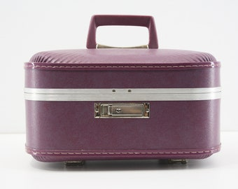 Vintage Samsonite Train Case / Purple/  Samsonite Vanity Makeup Case w/Mirror / JCPenney