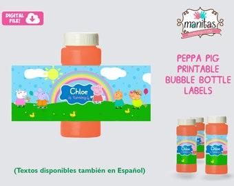Peppa Pig Birthday Printable Bubble Bottle Label - Personalized Bubble Bottle Label - Peppa Pig Party - Peppa Pig Favors - Peppa Pig
