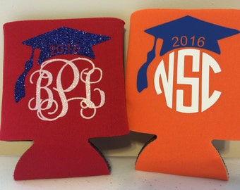 Custom Neoprene can insulator-Sports -Monogrammed drink insulator-Holiday gift-Graduation Cap -Groomsmen Gift-Wedding Favor