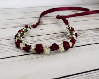 Handcrafted Ivory and Burgundy Flower Crown - Wedding Accessory - Wine Flower Wreath - Red Rose Accessory - Bridal Crown - Woodland Halo