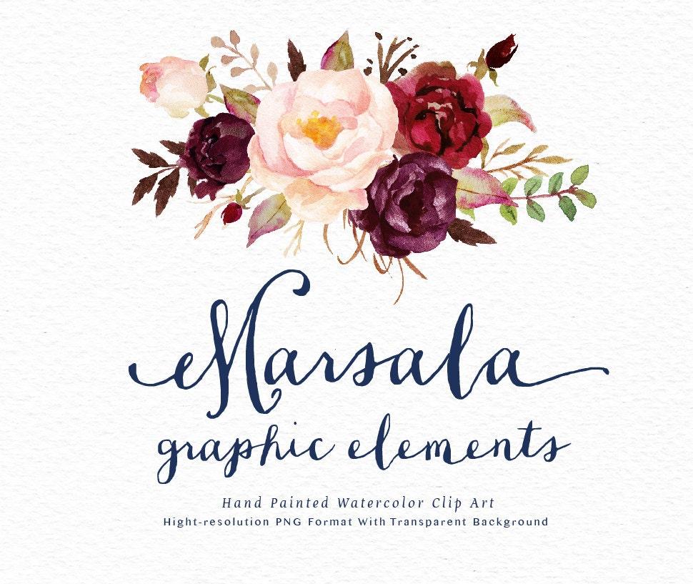 Watercolor Floral Clip Art Marsala Graphic Elements Individual