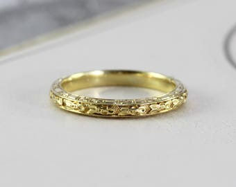 Vintage 18k Wedding Band, Art Deco Yellow Gold Carved Rose Blossom Floral Eternity Stacking Ring, Old New Stock