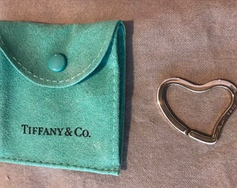 Tiffany Sterling Silver Elsa Peretti Open Heart Key Ring Keyring with Pouch