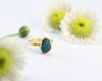 Genuine One-of-a-Kind Raw Dioptase Ring in Beaten Gold Plated Sterling Silver - Raw Dioptase - Rough Gemstone Ring - Dioptase Jewelry