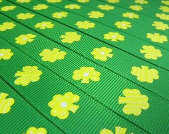 "Irish Shamrocks Printed Grosgrain Ribbon/ 5/8 ""( 16 mm ) width /DIY Hair Bow / Head Band DIY / Craft Supplies"