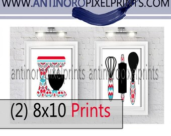 Red Turquoise Baking Kitchen Mixer Utensils Kitchen Art Collection  -Set of (2) - 8x10 Prints (Unframed)