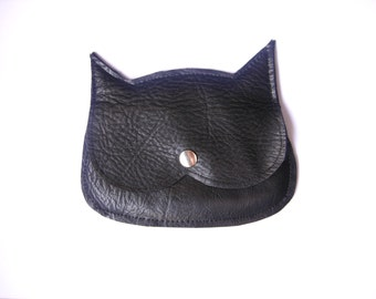 Black Leather  Cat coin purse, genuine leather, synthetic leather, suede cat pouch,  crazycatlady purse, witch purse!