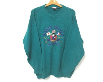 Vintage Mickey Knitwear Embroidery Mens Rare