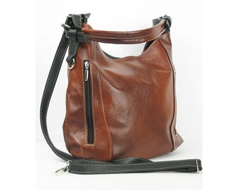 Brown LEATHER HOBO BAG - Everyday Leather Shoulder Bag Top Zip Bag Leather Handbag Leather Shoulder Bag Women's Purse Leather Purse