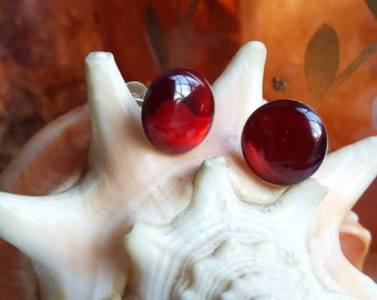Sterling Silver Red Abalone Cabochon Post Stud Earrings