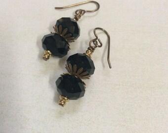 Jet black earrings. Short stack black faceted crystal earrings.Vintaj ear hooks.