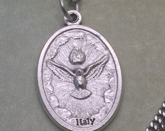 Holy Spirit holy medal necklace. Catholic jewelry. Christian, religious, faith gift. The Paraclete, the Consoler. Trinity. God is Love