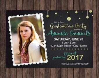 Chalkboard, Lace, and Glitter Graduation Party Invitation