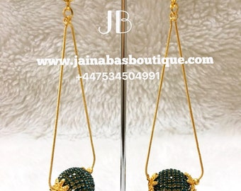 Turquoise- Crystal + Gold Earrings