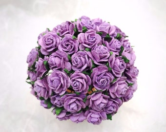 50 pcs. purple Rose Mulberry Paper Flower Craft Handmade Wedding 15 mm Scrapbook #185