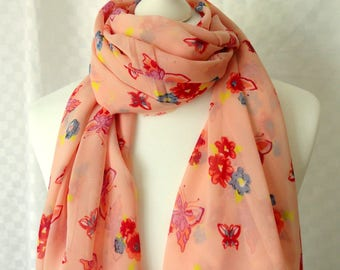Butterfly print scarf, Pink butterflies print scarf, Butterflies scarf, Scarf for her, Large scarf, Fashion scarf