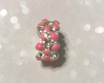 Pink Enamel Bead Spacer for Big Hole Bead Bracelets