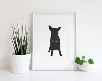 Custom Dog Silhouette Art Print - Modern Dog Art