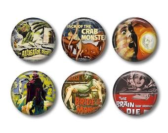 Horror Movies pinback button badges or fridge magnets, fridge magnet set