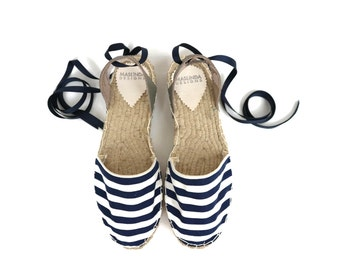Lace-up Espadrilles Sandals in Blue and White. Summer Flat Shoes. Handmade Greek Sandals. Boho Women's Shoes. Gift for Her. Alpargatas