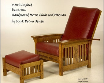 Built-to-Order, Morris Style Curved Arm Lounge Chair and Ottoman Arts and Crafts Style, Mission, Craftsman, Stickley Inspired