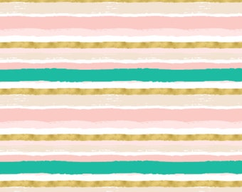 Watercolor Gold Pink and Teal Stripes - Swaddle, Changing Pad Cover, Boppy Cover, Crib Sheet, Minky Blanket, Baby Blanket, Muslin Swaddle