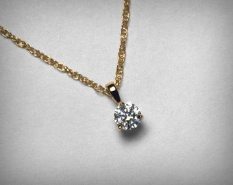 Diamond Necklace Pendant, 14K Genuine Diamond Pendant Necklace, 14K Yellow or White Gold, Natural Solitaire Diamond Necklace Jewelry, 1/4