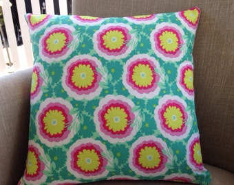 "Amy Butler Soul Blossoms ""Spearmint Buttercups"" 45cm square cushion cover/pillow with EST French linen backing"