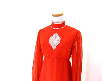 Vintage Red Maxi Dress / Red Chiffon Dress / Formal Evening Dress / Long Flowy Dress / High Collar Dress / Boho Dress / Drape Dress S M