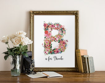 Personalized nursery wall art, Floral monogram letter, Nursery monogram, Nursery decor, Printable letters, Personalized gift, Digital BD-856