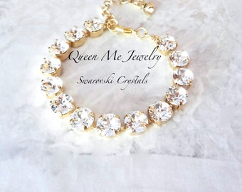 Yellow Gold Swarovski crystal Bracelet Crystal bracelet Crystal tennis bracelet Brides Bridesmaids crystal bracelet Wedding Jewelry SOPHIA
