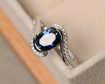 Blue Sapphire Gemstone Rings White Gold Ring