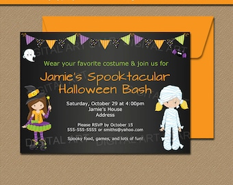 Girl Halloween Birthday Invitation - Girl Costume Party Invitation - Printable Costume Birthday Invitation - Halloween Party Invite HCBK