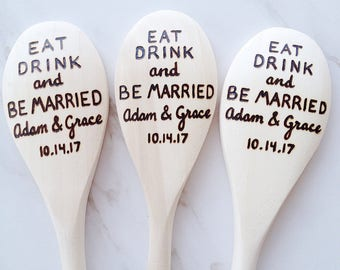 Personalized Wedding Favor Gift - Eat Drink and Be Married Spoons - custom wedding guest favor, wedding party gift, wedding shower favor
