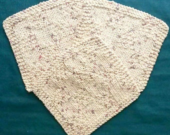 Hand Knitted Cotton Washcloths - Set of 3