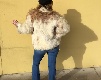 Vintage 1960's Cream and Rose Shearling Coat | Penny Lane | Boho | Fur