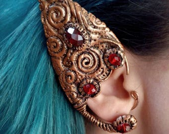 Elf ear cuff / Polymer clay ear cuff / Elven ear / Faerie jewerly / Copper wire ear cuff /Pagan / Vintage